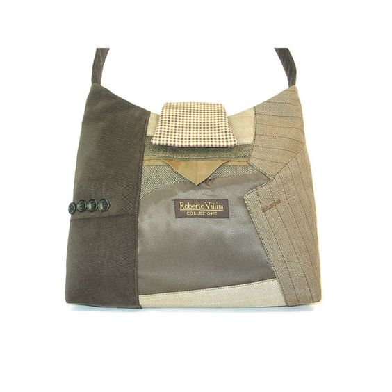 Handbag / hobo from upcycled suit coats  George No by mandinka, $150.00