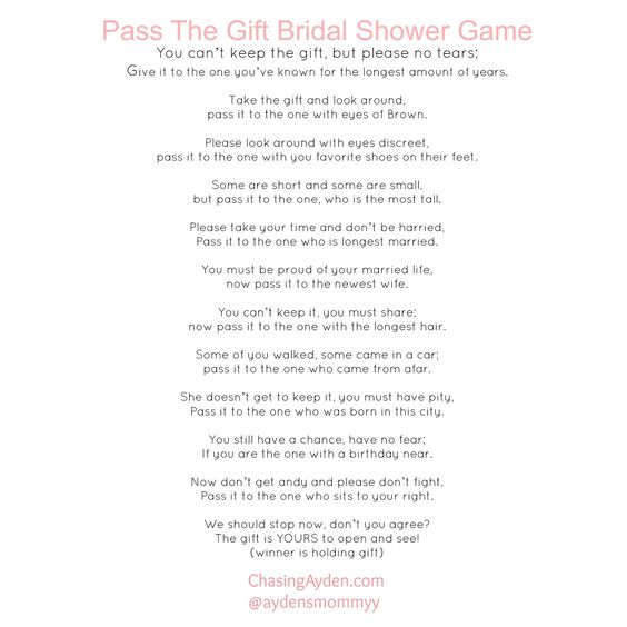 Pass The Gift Wedding Poem : Pass The Gift Bridal Shower Game Free Printable http:/chasingayden.com ...
