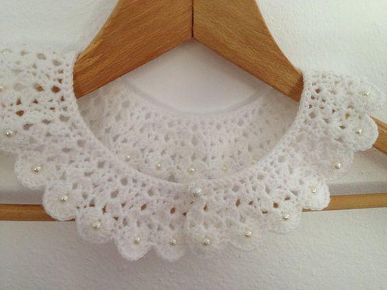 Wedding white crochet collar with beads peter pan by NesrinArt, $30.00