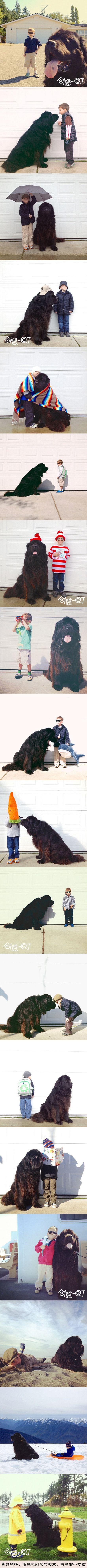 小男孩儿Julian和巨型犬Max