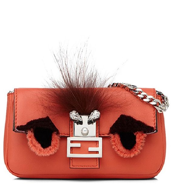 Fendi 'Micro Monster' Leather & Genuine Mink Fur Baguette
