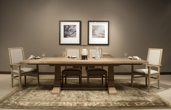 """Hudson Vintage Table in Stone Wash by Orient Express. 78-110""""L x 39.5"""" X 29.5""""H Matching pieces available"""