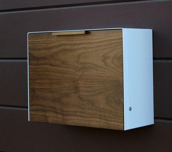 Moderne Postfach groß Walnuss und Edelstahl von CeCeWorks auf Etsy