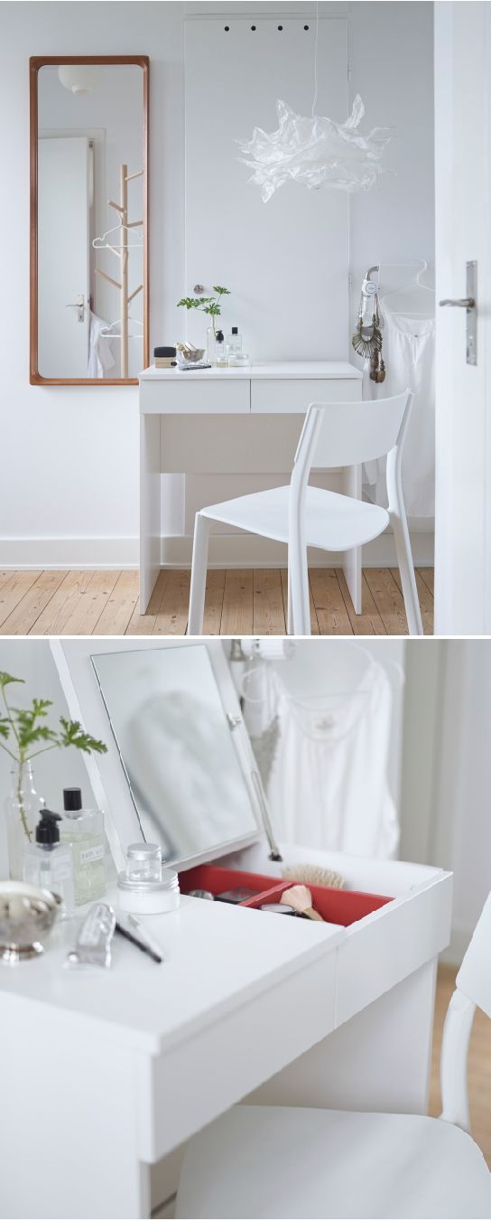For easy morning routines, BRIMNES dressing table removes all visible clutter by featuring a clever built-in mirror with hidden storage that helps you organize your jewelry and make-up.