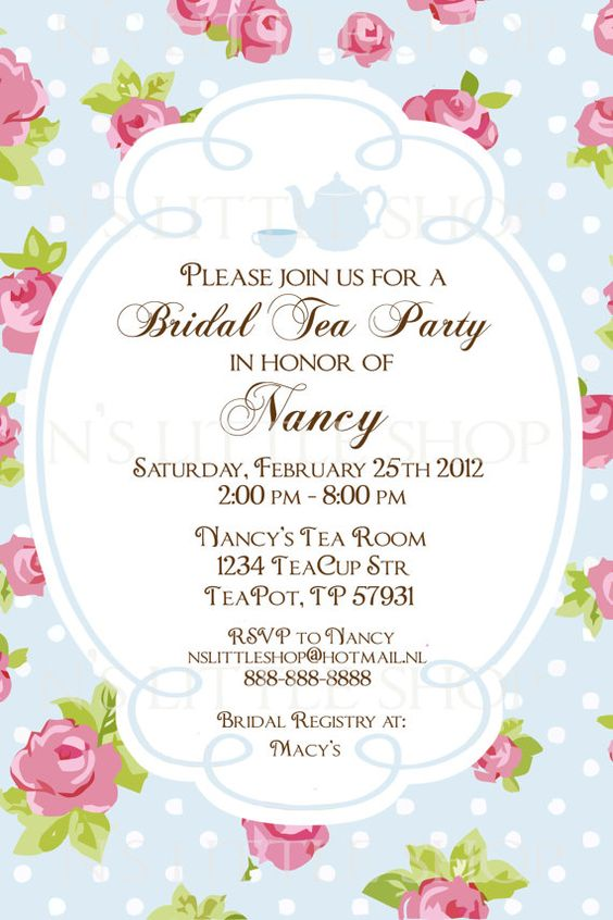 "Bridal Shower ""Tea Party"" Invitations. English ROSE Tea ..."