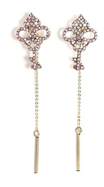 Betsey Johnson Jewelry Pave Key Linear Chain Earrings