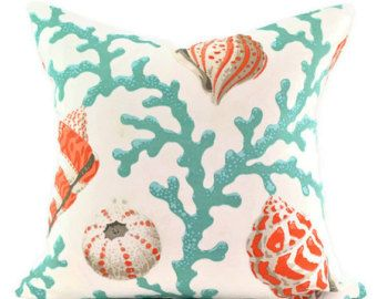 PKaufmann Sea Shell Branch Coral Pillow Cover - Orange Turquoise and White - Indoor or Outdoor 18x18, 20x20, 22x22