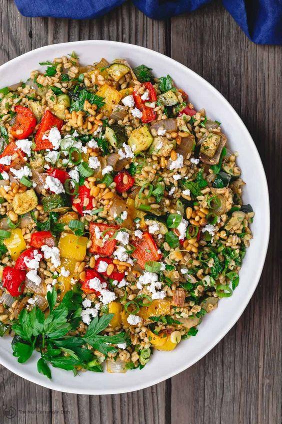 Mediterranean Barley Recipe with Roasted Vegetables