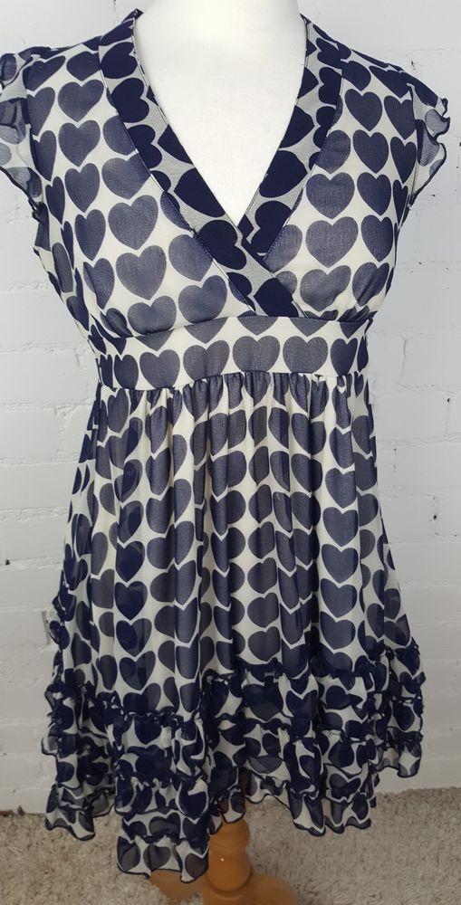 Yumi Navy Blue Ivory Love Heart Print Floaty Chiffon Dress Uk 8 Vgc Fashion Clothing Shoes Accessories Wome Chiffon Dress Dresses Navy And White Dress
