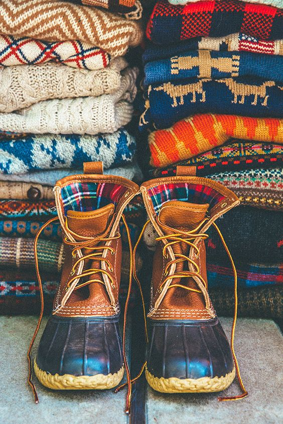 Cheap ugly Christmas sweaters and some bean boots will complete your holiday look!