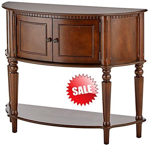Curved Accent Console Table Decor Storage Cabinet Entryway Living Room Home Office Brown Wooden Stand Console Table Decorating Wooden Stand Furniture Sofa Set
