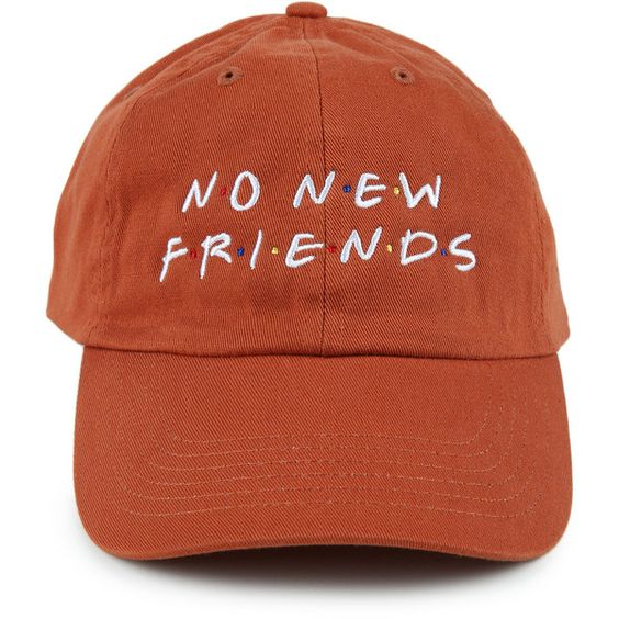 Spoiled Milk The No New Friends Dad Hat in Rust (£23) ❤ liked on Polyvore featuring men's fashion, men's accessories, men's hats, red orange and mens caps and hats