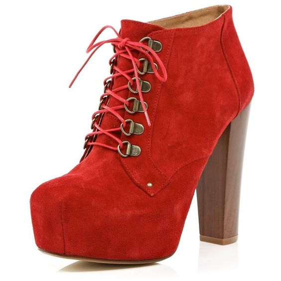 Love, love, love the red...River Island Red Platform Ankle Boots ($135) found on Polyvore
