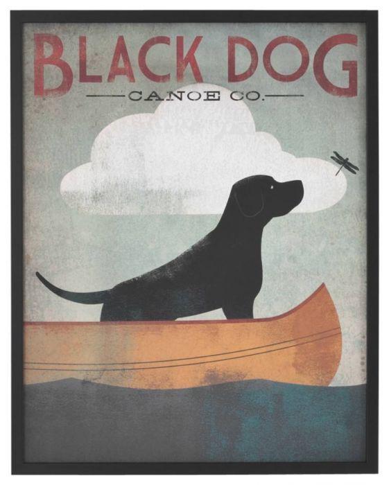 Black Dog Canoe Ryan Fowler Boats Lake Dog Labrador Animals Print Poster