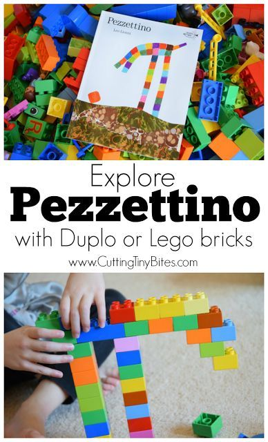 Let your kids build characters from the Leo Lionni book Pezzettino out of Duplo or Lego bricks with this simple activity. Great spatial, visual discrimination, and fine motor learning for preschoolers or kidnergarten children.