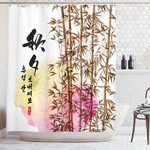 GAOFENFFR Bambou Japonais Soleil et Montagnes Rideau Bain Tissu Rideaux Douche imperm/éables 180X180CM Rideau Douche Rouge