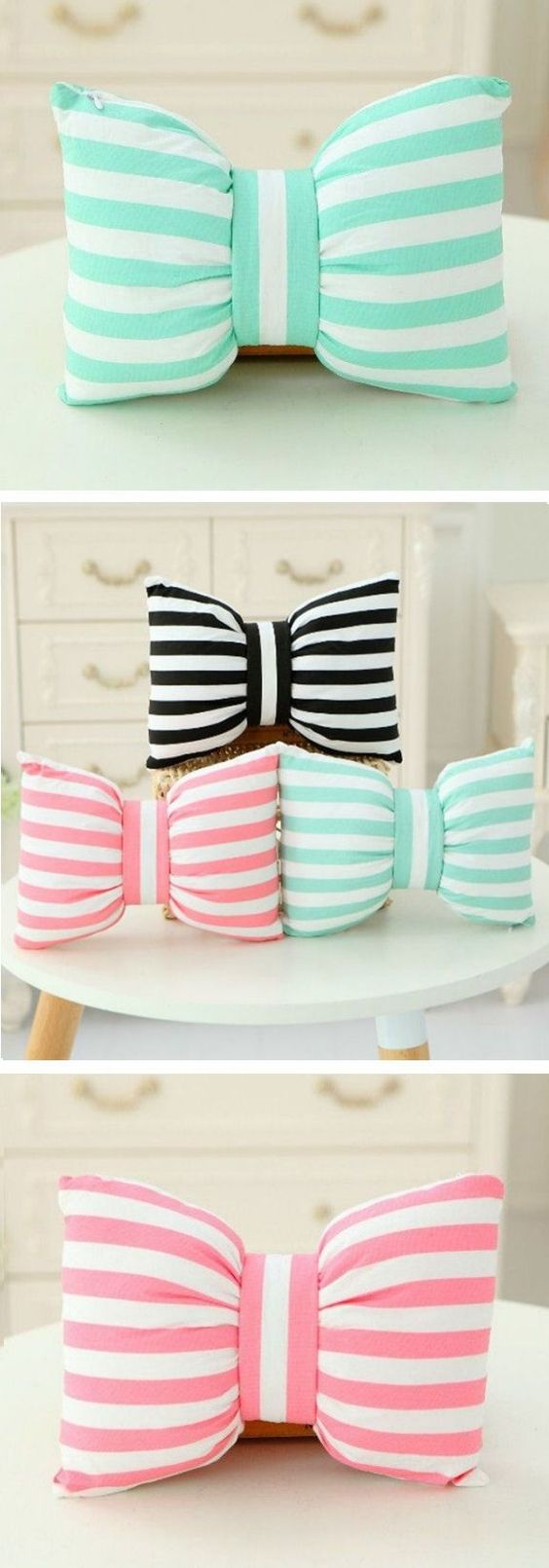 Cute Pillow Crafts : cUte Stripe Bowknot Pillows ? by wteresa Clever crafts Pinterest Stripes, Posts and Pillows