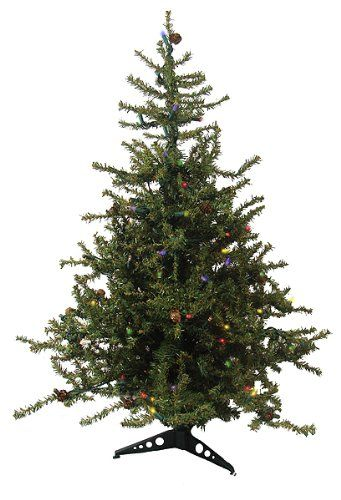 "$29.99-$34.99 3' Pre-Lit Tannenbaum Artificial Christmas Tree - Multi Lights - 3 Foot Tannenbaum Artificial Christmas Tree  Item #92039 Rustic, European-style tree is adorned with baby pine cones scattered throughout Features: 711 branch tips that are 0.75"" wide Light green color  Medium profile tree Pre-lit with 100 multi-color mini lights If one bulb burns out, the rest will stay lit  Hinged b ..."