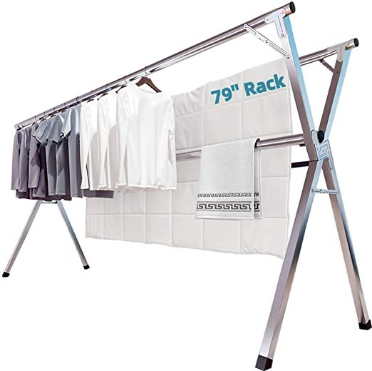 Clothes Drying Rack 2m 79 Inches Stainless Steel Garment Rack Adjustable And Foldable Space Saving Lau Clothes Drying Racks Drying Rack Laundry Drying Clothes