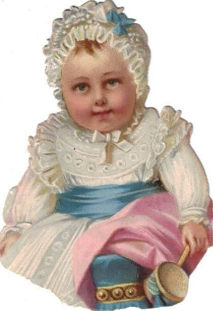 Victorian Die Cut Scrap Sweet Baby with Rattle c1880: