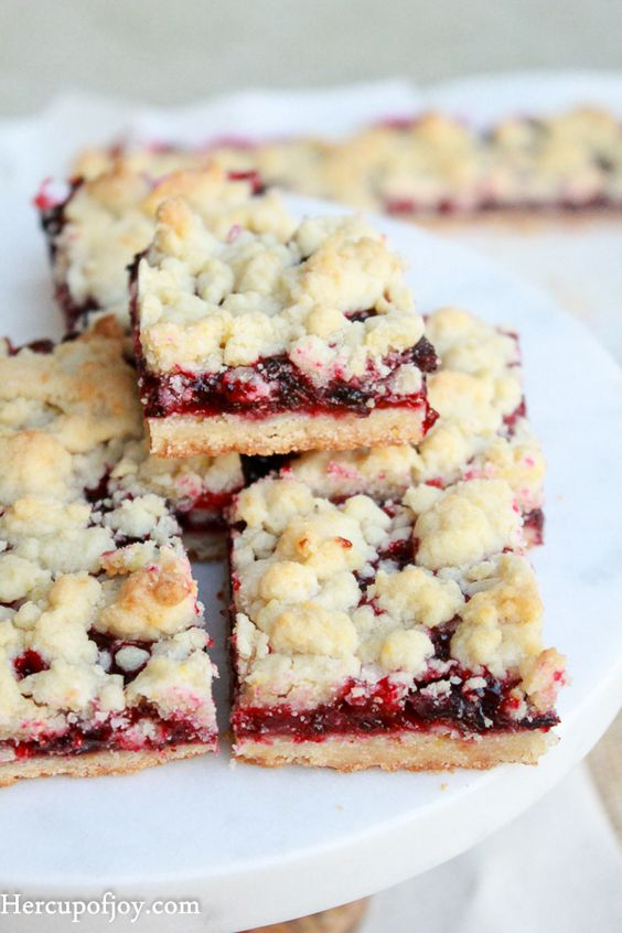 When life gives you blackcurrants, make shortbread bars! These shortbread bars have a buttery crispy crust and a tart, but sweet, blackcurrant spread to create a perfect bar.