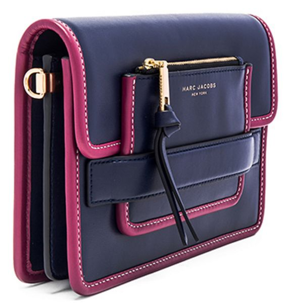 Marc Jacobs Flap-Top Shoulder Bag in Navy with Pink Piping