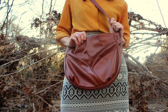 Ambassador Brown Leather Boho Bag by LulabellesArmario on Etsy