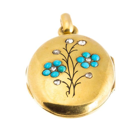 Antique Victorian 15ct gold, turquoise, diamond and enamel locket | A.R. Ullmann