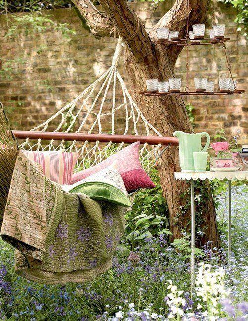 loveliness: Garden Ideas, Garden Hammock, Favorite Places Spaces, Outdoor Living, Secret Garden, Dream Home, Outdoor Spaces