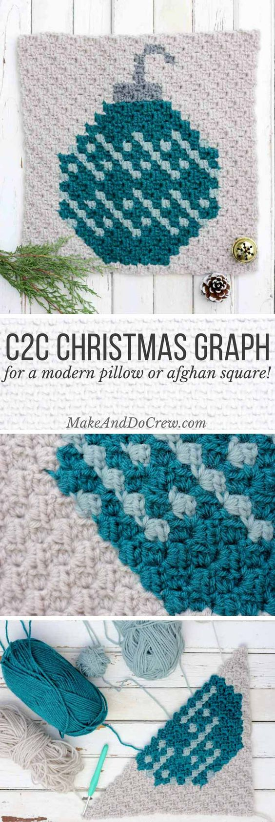 This C2C crochet Christmas pattern is the second in my free afghan series. This monochromatic bulb ornament would work great as a festive pillow front too! Click to download the other free graphs for this festive, modern afghan!: