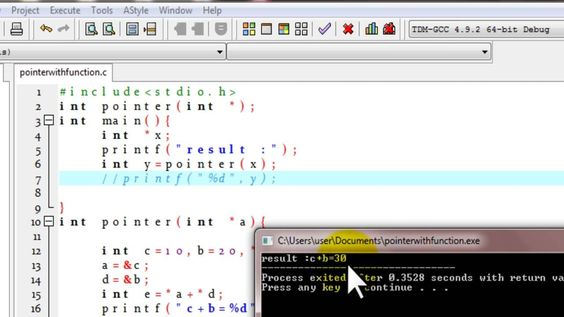 C Programming Tutorial pointer and function example for beginners ++