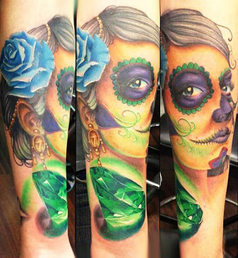Realism Muerte Tattoo by Mike Ats