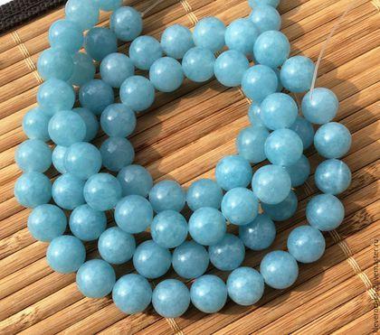 Кварц аквамариновый шар 10 мм гладкий бусины камни для украшений. Handmade.