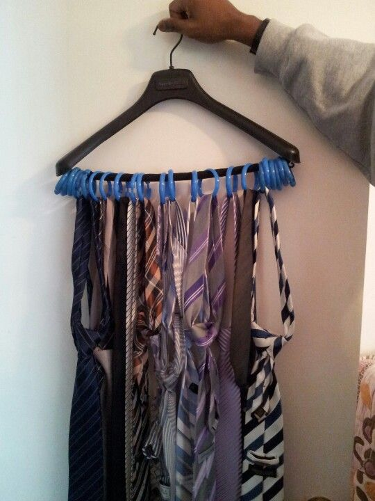 diy tie rack just use shower curtain rings and a hanger crafty pinterest the o 39 jays. Black Bedroom Furniture Sets. Home Design Ideas