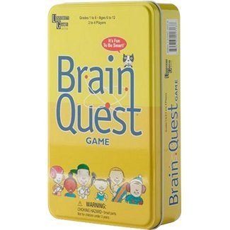 Kids 8 and up can challenge themselves with the Brain Quest Travel Card Game. This travel set is based on the popular Brain Quest series, and includes questions in categories including Math, Science, English, Social Studies and Grab Bag. Children can earn bonus points by answering questions above their grade level. Every player has an equal chance to win, as players race across the mini gameboard, answering questions at varying degrees of difficulty. Parents and kids can play together…