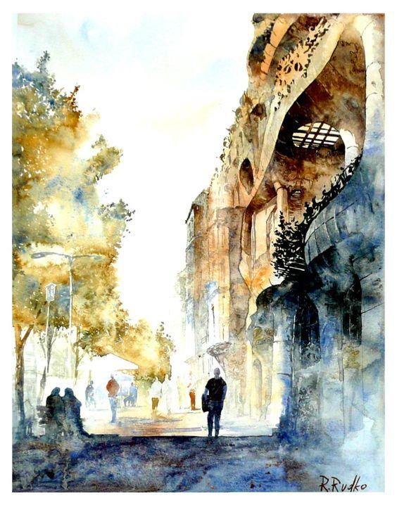 Barcelona watercolor street trees buildings