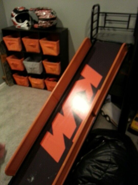 took loft bed from primary colors to ktm colors with custom decal on slide