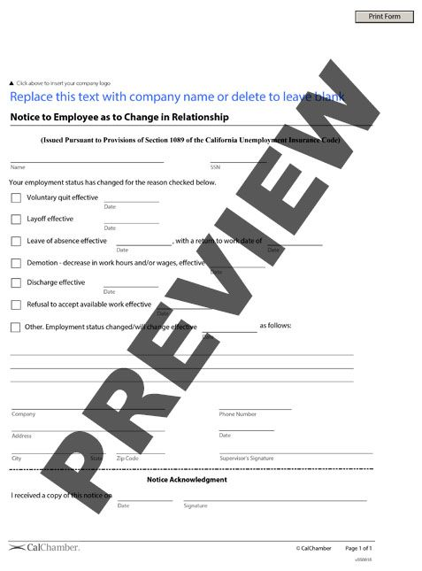 Notice To Employee As To Change In Relationship Hrcalifornia