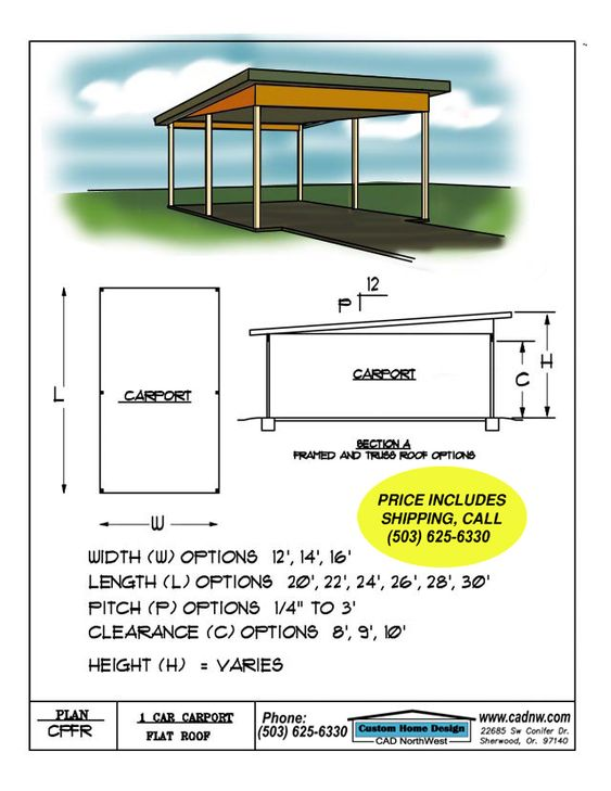 Carport plans flat roof and flats on pinterest for 3 car carport plans