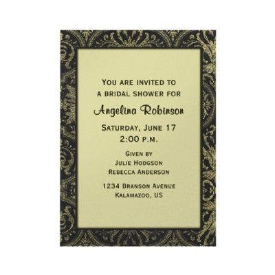 Black and Gold Damask Bridal Shower Invitation