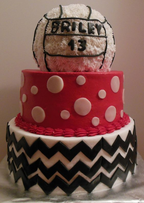 Volleyball Chevron Polka Dot 13Th Birthday Cake For Briley  on Cake Central
