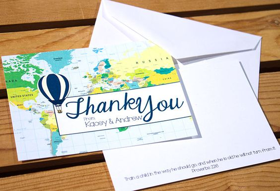 Map and Hot Air Balloon Thank You Cards to match a Baby Shower Theme.