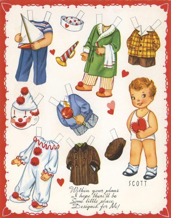 """✄ #Paper dolls.....""""Scott""""- Valentine ✄-Out Doll Book, A-Meri-Card, 1952"""