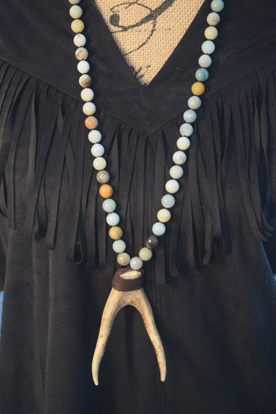 Boho Necklace, Amazonite Necklace,Deer Antler Necklace,Double Antler Necklace, Horn Necklace, Tusk Necklace, Leather Necklace, Spring Trends by NatnatCreations on Etsy