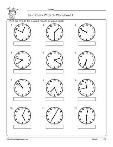 Telling time to the nearest minute printable | Math Worksheets ...