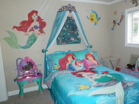 Blue bed ariel and valances on pinterest for Ariel bedroom ideas
