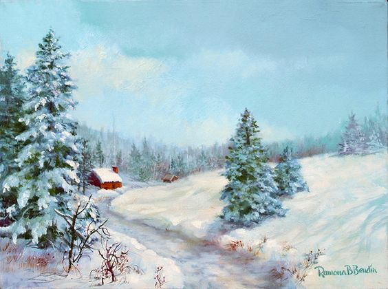 Red Cabin, oil by Ramona B Bendin, 12 x 16