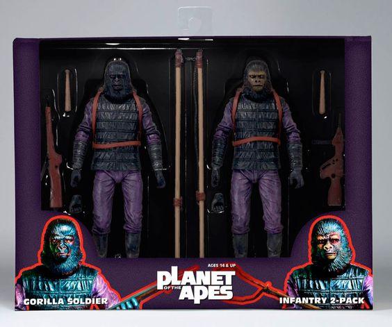 Pack 2 figuras El Planeta de los Simios. Classic Gorilla Soldier Infantry, 18cm NECA Pack de 2 figuras de 18cm de los gorilas soldados de la película El Planeta de los Simios.