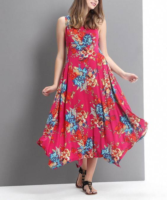 Another great find on #zulily! Fuchsia Floral Scoop Neck Handkerchief Maxi Dress by Reborn Collection #zulilyfinds