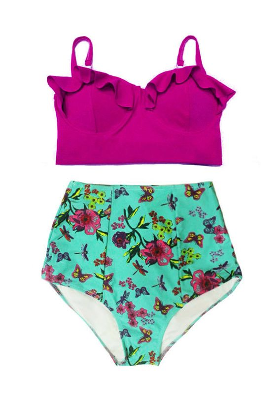 Purple Maroon Plum Midkini Top and Mint Flora Graphic High waist waisted rise Bottom Swim Bikini set Swimwear Swimsuit Bathing suit S M L XL by venderstore on Etsy: